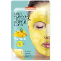 Кислородная тканевая маска Purederm Deep Purifying Yellow O2 Bubble Mask Turmeric